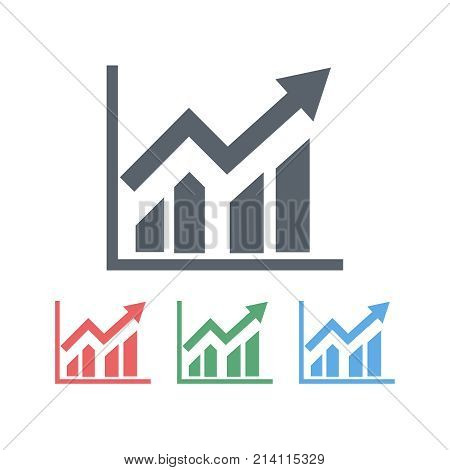 An image of the graph with a growing arrow up. Several color variants on a white background. Vector illustration.