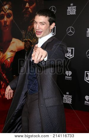 LOS ANGELES - NOV 13:  Ezra Miller at the World Premiere of Justice League at Dolby Theater on November 13, 2017 in Los Angeles, CA