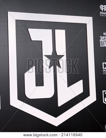 LOS ANGELES - NOV 13:  Justice League Emblem at the World Premiere of Justice League at Dolby Theater on November 13, 2017 in Los Angeles, CA