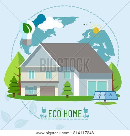 Banner with the image of an ecological house with energy saving using solar panels. The concept of ecology. Vector illustration.