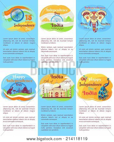Indian Independence Day posters with description and national symbols associated with country isolated cartoon vector illustrations set.