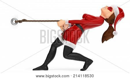 3d christmas people illustration. Woman superhero pulling a rope. Blank poster. Isolated white background.