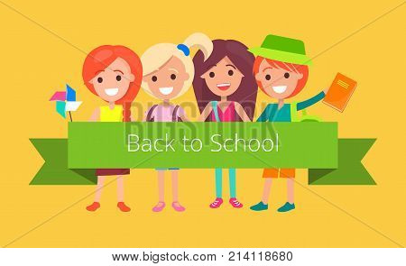 Pupils in good mood ready to go back to school and hold green wide ribbon. Vector colorful illustration presenting finish of summer