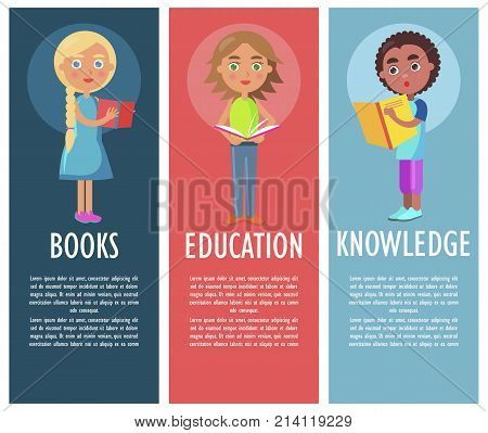 Reading book gives new knowledge and education vector illustration. Schoolchildren holds schoolbooks in hard color cover.