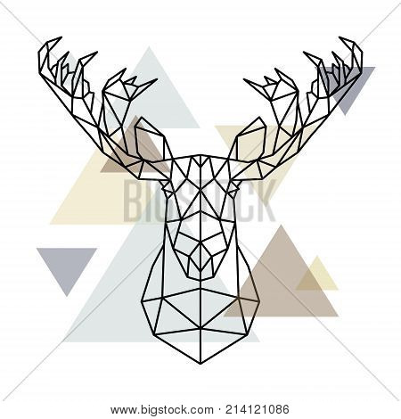 Moose head geometric lines silhouette isolated on scandinavian background. Polygonal style. Scandinavian style.