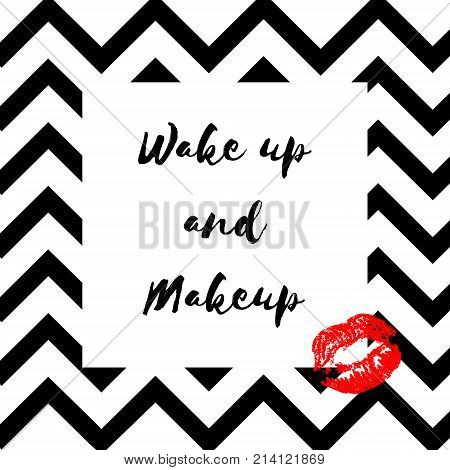 Poster With Imprints Of Lipstick And Hand Drawn Lettering. Silhouettes Of Red Lips And Text Wake Up