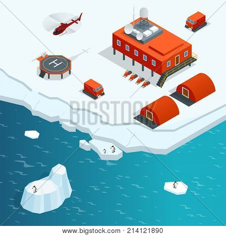 Isometric Antarctica station or polar station with buildings, meteorological research measurement tower, vehicles, helipad Vector Illustration.