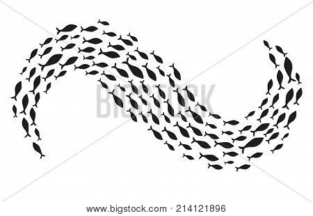 Silhouettes of groups of sea fishes. Colony of small fish. Icon with river taxers. Logo.