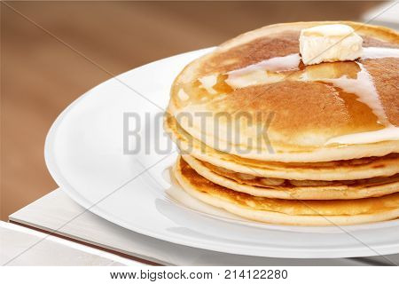 Cakes pancakes yellow white background decoration decorate