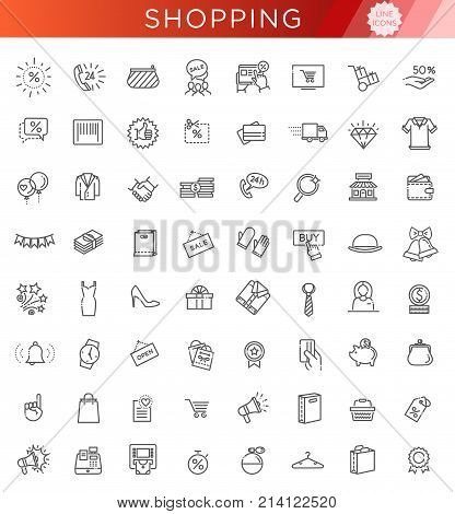 Shopping malls, retail - outline web icon collection, vector, thin line icons collection