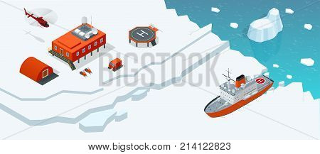Isometric Antarctica station or polar station with buildings, meteorological research measurement tower, vehicles, helipad and icebreaker