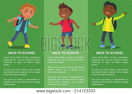 Back to school collection of posters with inscriptions. Isolated vector illustration of school-aged boys with rucksack backpacks on green background
