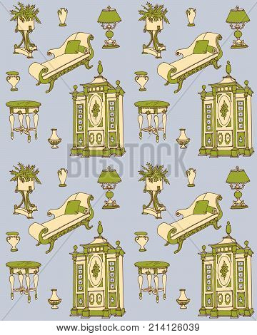 living room furniture in the Empire style sketch, seamless, Vector set of furniture in the old Empire style - a couch, stand under the flowers, lamps, vases, table, wardrobe, doodle hand painted