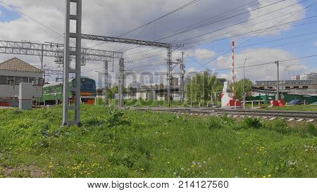 The movement of suburban a electric train.