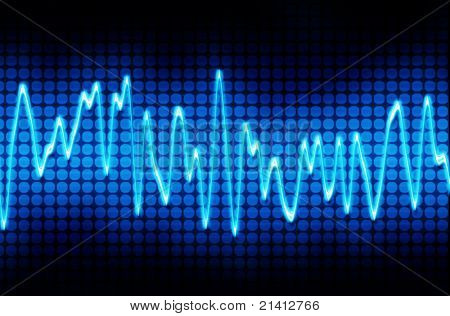 blue electronic sine sound or audio wave