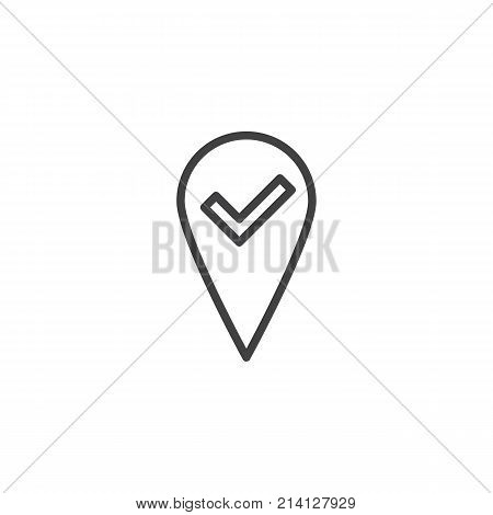 Check  map, pointer, navigator line icon, outline vector sign, linear style pictogram isolated on white. Location pin check symbol, logo illustration. Editable stroke