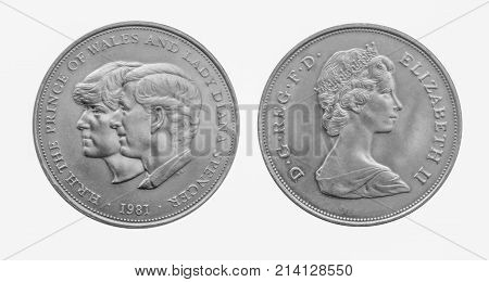 1981 Prince Charles and Diana Royal wedding silver crown coin. Front and reverse isolated on white background. Issued by the Royal Mint the last commemorative crown with a face value of 25p.
