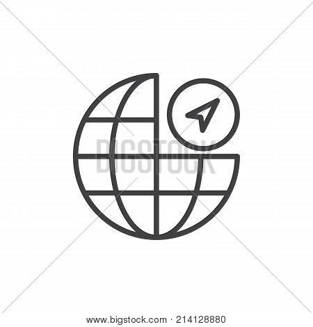 Globe navigation line icon, outline vector sign, linear style pictogram isolated on white. Symbol, logo illustration. Editable stroke