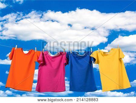 Cloth clothes wash rope clothespin pins clothespins
