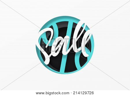Sale in the style of paper art. Discount sticker tag label. Black friday sale price.