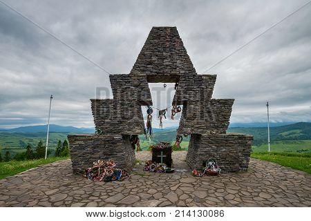 VERECKE TRANSYLVANIA - JUNE 05 2017: Hungarian national monument in Transylvania Romania on Juner 05 2017 in Verecke