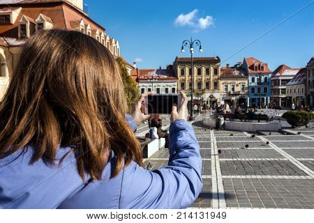 View Of The Main Square At The Brasov