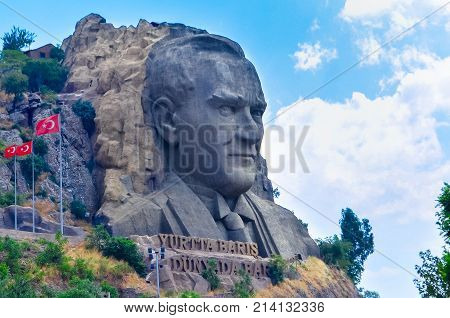 Izmir, Turkey - July 28, 2015 : Ataturk Mask view in Buca. Ataturk is founder of modern Turkish Republic.