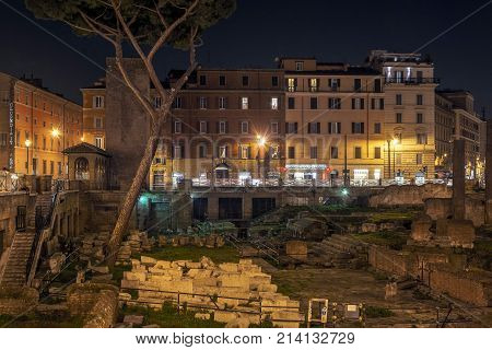 Rome Italy february 15 2017: night view of the ancient roman ruins in Largo di Torre Argentina in Rome