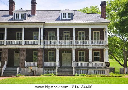 A former living quarters on Governors island national park in Manhattan new york city, new york.