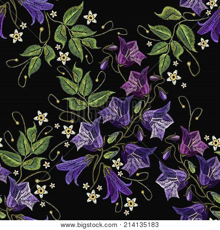 Embroidery violet flowers bells seamless pattern. Beautiful cornflowers classical embroidery seamless background vector. Fashionable template for design of clothes