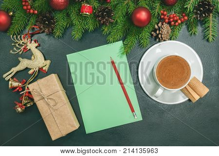 Christmas Background With Blank Notebook, Fir Branches, Decorations And Gift Boxes. Space For Text.
