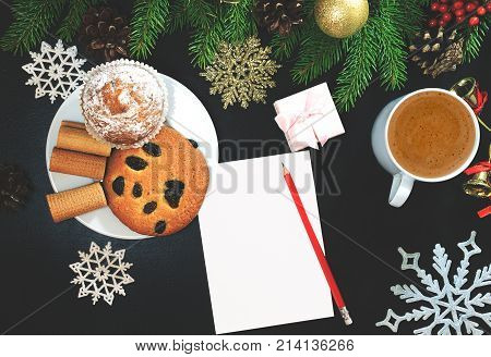 Christmas Background Or Xmas Card With Decorations Food, Ormament, Cup Of Coffee, Gift Present. Crea