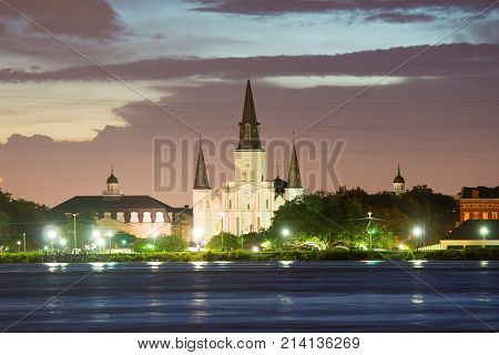 St. Louis Cathedral at French Quarter at twilight in New Orleans, Louisiana, USA.