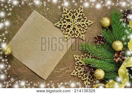 New Year card with space for text. Decoration for the new year. Merry Christmas and Happy New Year!