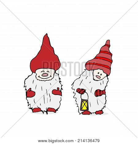 Outline set of Trolls gnomes with beards and long hats. Funny characters for Christmas.  illustration on white