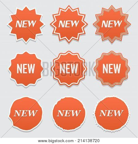 New sticker set. Vector sale banner for web store. Product stickers with offer. Promotional corner located element. Color splash label tag badge icon with text. Accent promotion flyer frame design