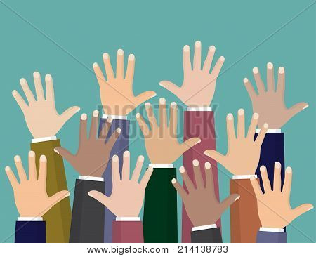 Raised up hands. Volunteering charity concept of education business training.