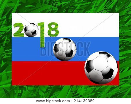 Football Soccer World Cup 2018 with Russian Flag Balls and Decorated Date Over Green Grass Background
