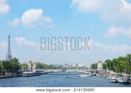 PARIS, FRANCE - APRIL 29, 2017: View of Seine river, famous Alexandre III bridge and Eiffel Tower