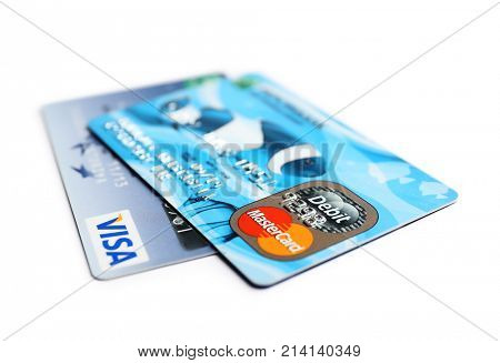 KIEV, UKRAINE - OCTOBER 2, 2017: Visa and MasterCard credit cards on white background