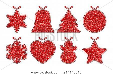 collection of vector christmas baubles isolated on white background