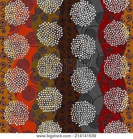 Ethnic boho seamless pattern in african style on wavy background. Tribal art print. Irregular polka dots pattern.