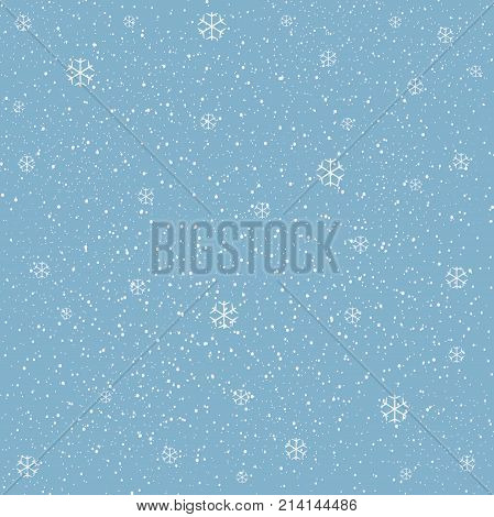 Winter Snowy Background filed with snow and snowflakes. Winter Merry Christmas collection. Falling Snow. Blue Background. Eps 10