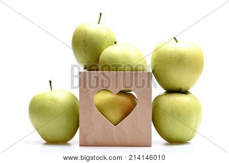 Set Of Fruit Placed In Wooden Valentines Box With Heart