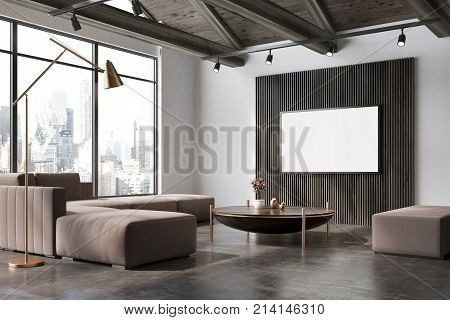 White And Wooden Living Room Corner, Poster