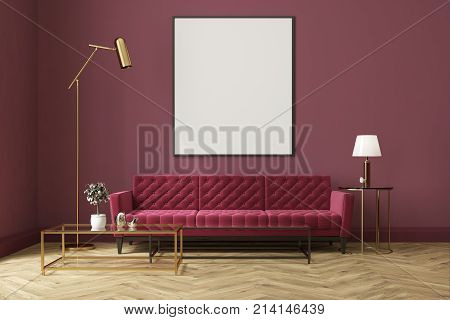 Purple Living Room, Red Sofa, Poster