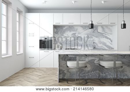 White Marble Kitchen Interior