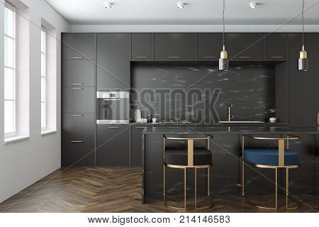 Black Marble Kitchen Interior