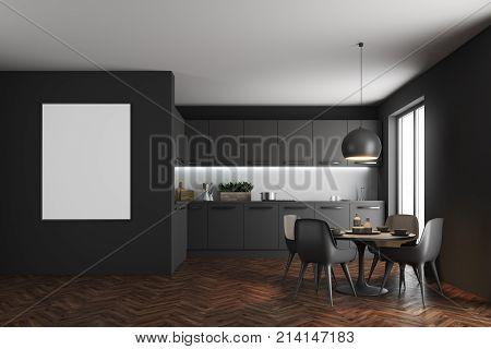 Black Dining Room Interior, Poster
