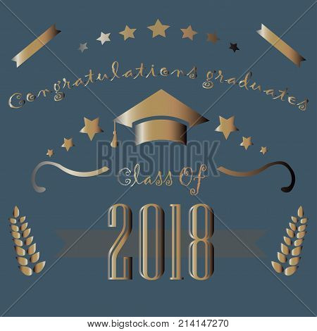 Congratulations graduates of year 2018. Vector Illustration